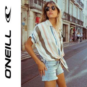 🆕 O'Neill Olive Green Multi Stripe Top